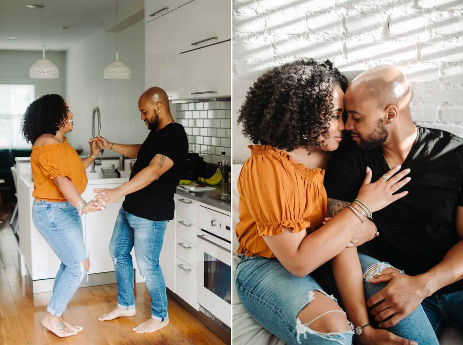 Black couple photographed in an Airbnb in Atlanta