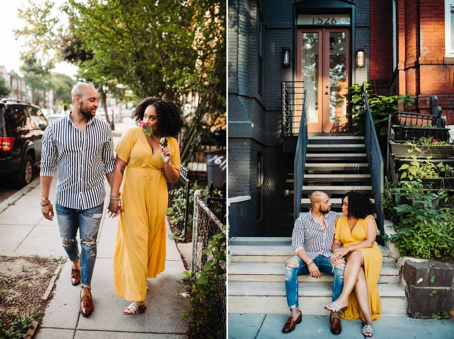 Black couple photographed in an Atlanta neighborhood and outside their Airbnb