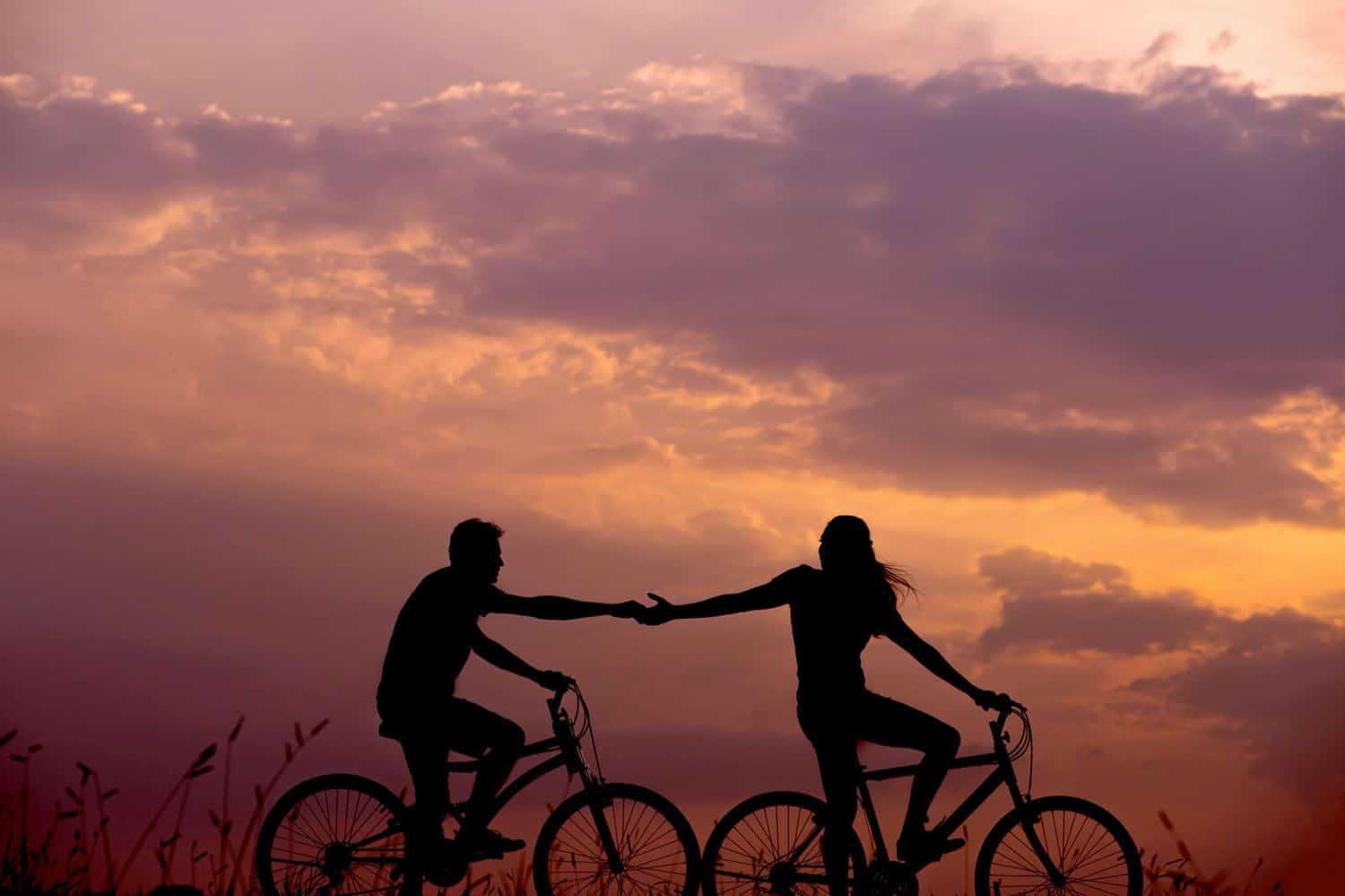 Two silhouetted cyclists hold hands in front of a sunset.