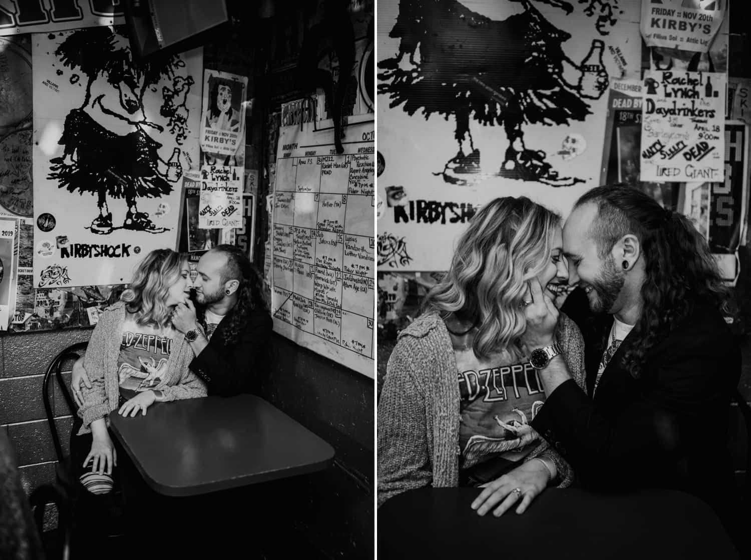 Black and white photos of a hipster couple sitting in a bar booth. Low light images by Shelby Laine Photography