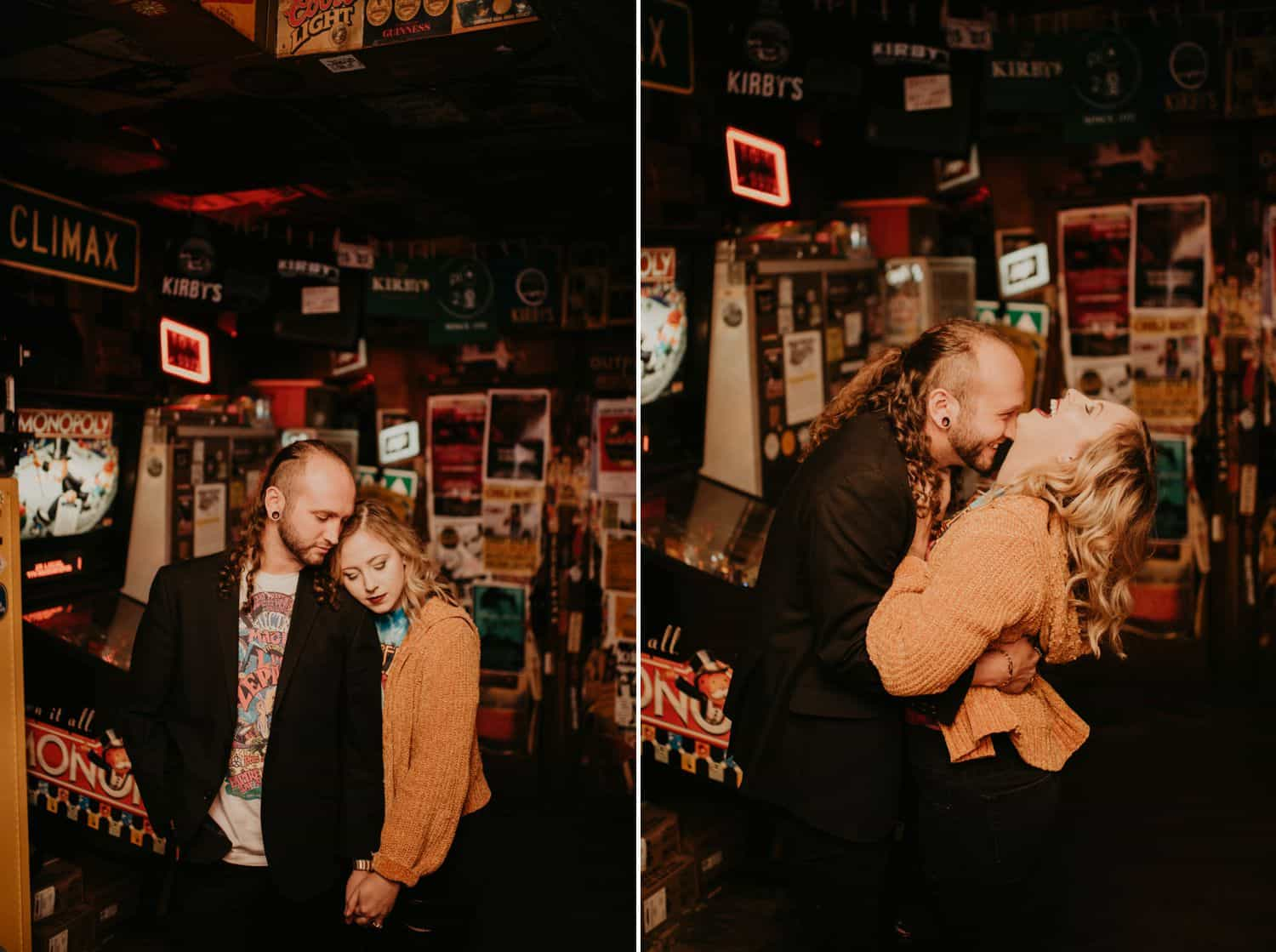 Two low light photos of a couple in a bar. Images are by Shelby Laine Photography