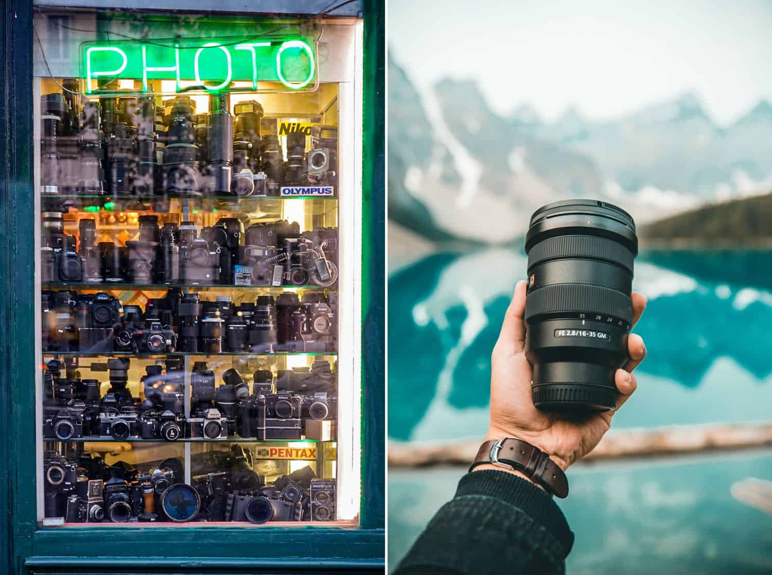 A store window filled with camera lenses. A hand holding a lens in front of a lake.