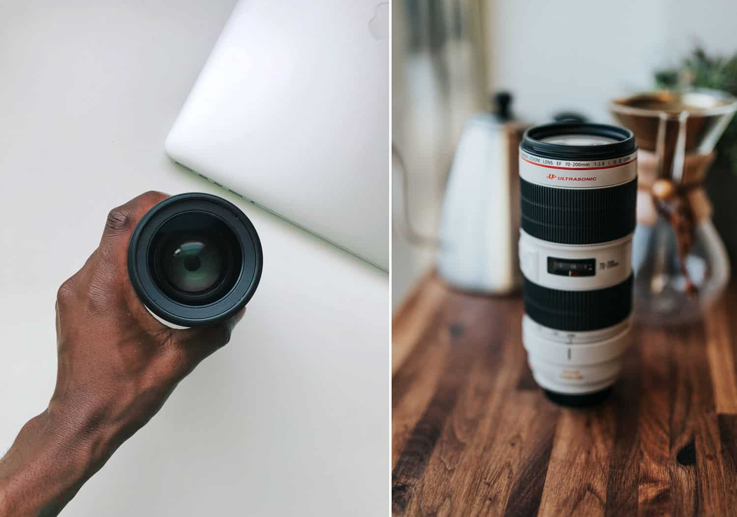 A hand holds a lens above a white table. A telephoto lens sits on a wooden table.