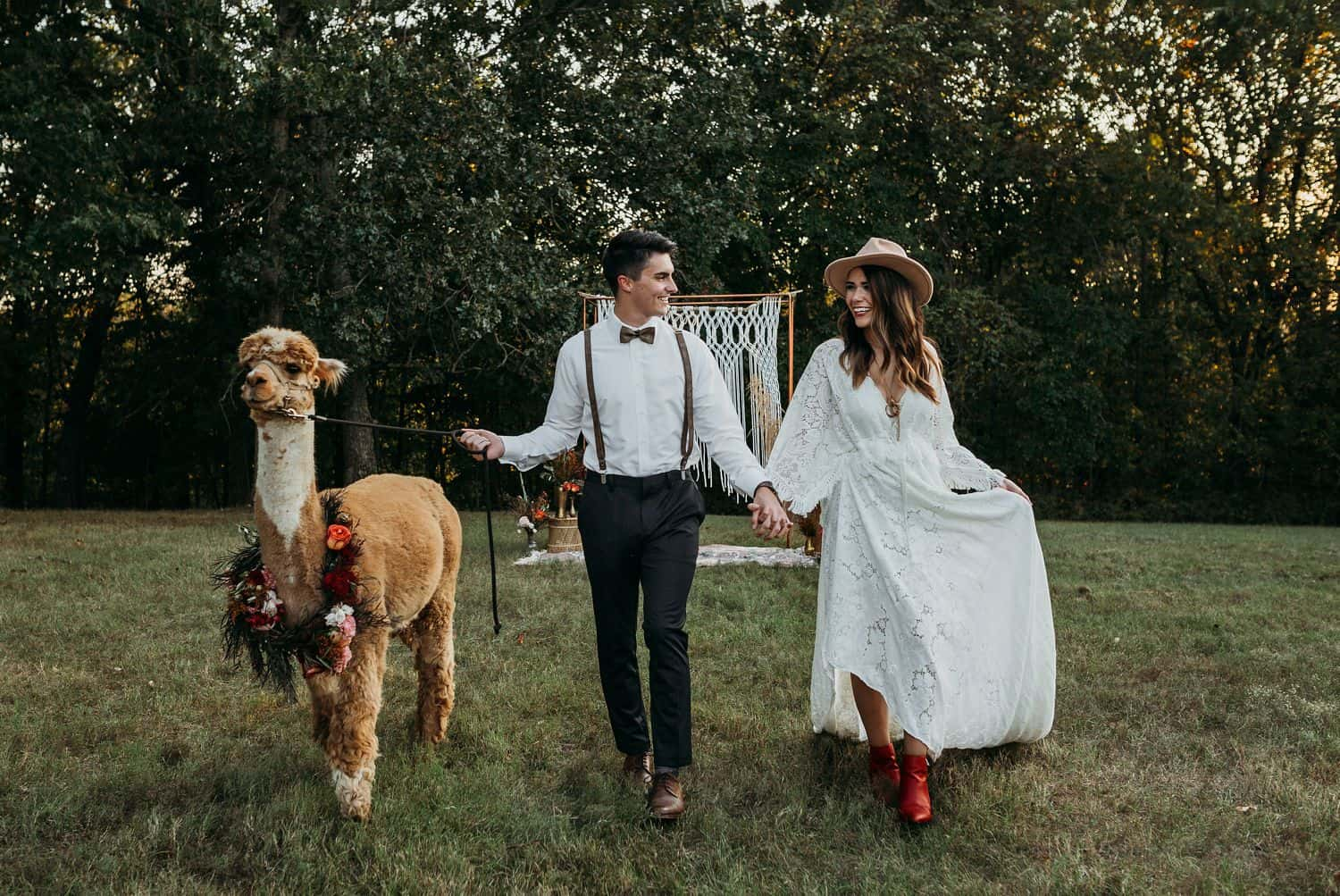 A boho wedding couple walk through a field with an alpaca wearing a floral wreath around his neck