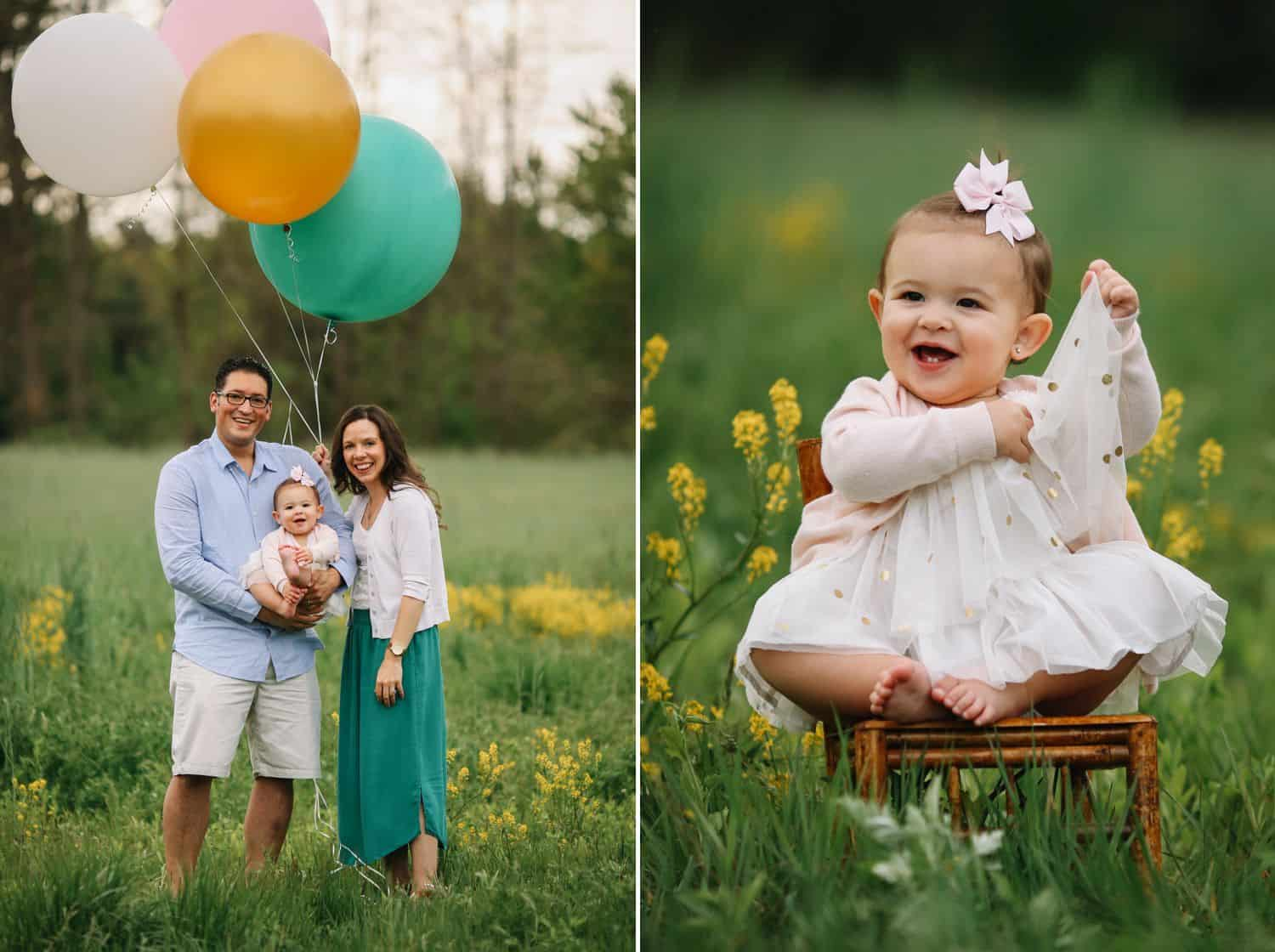 A family with a toddler daughter poses with a bunch of oversized balloons
