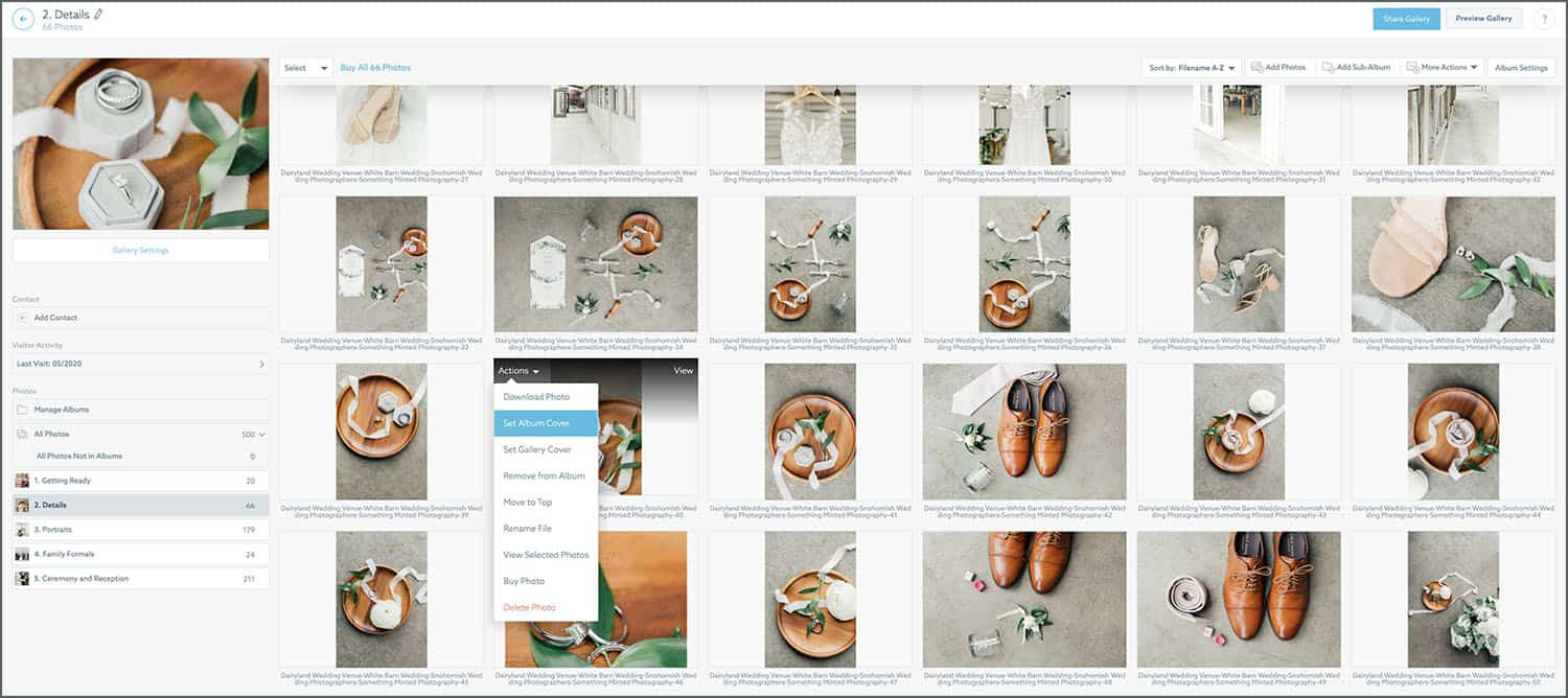 Shelby Schmidt showcases her ShootProof workspace, complete with client photos and marketing tools
