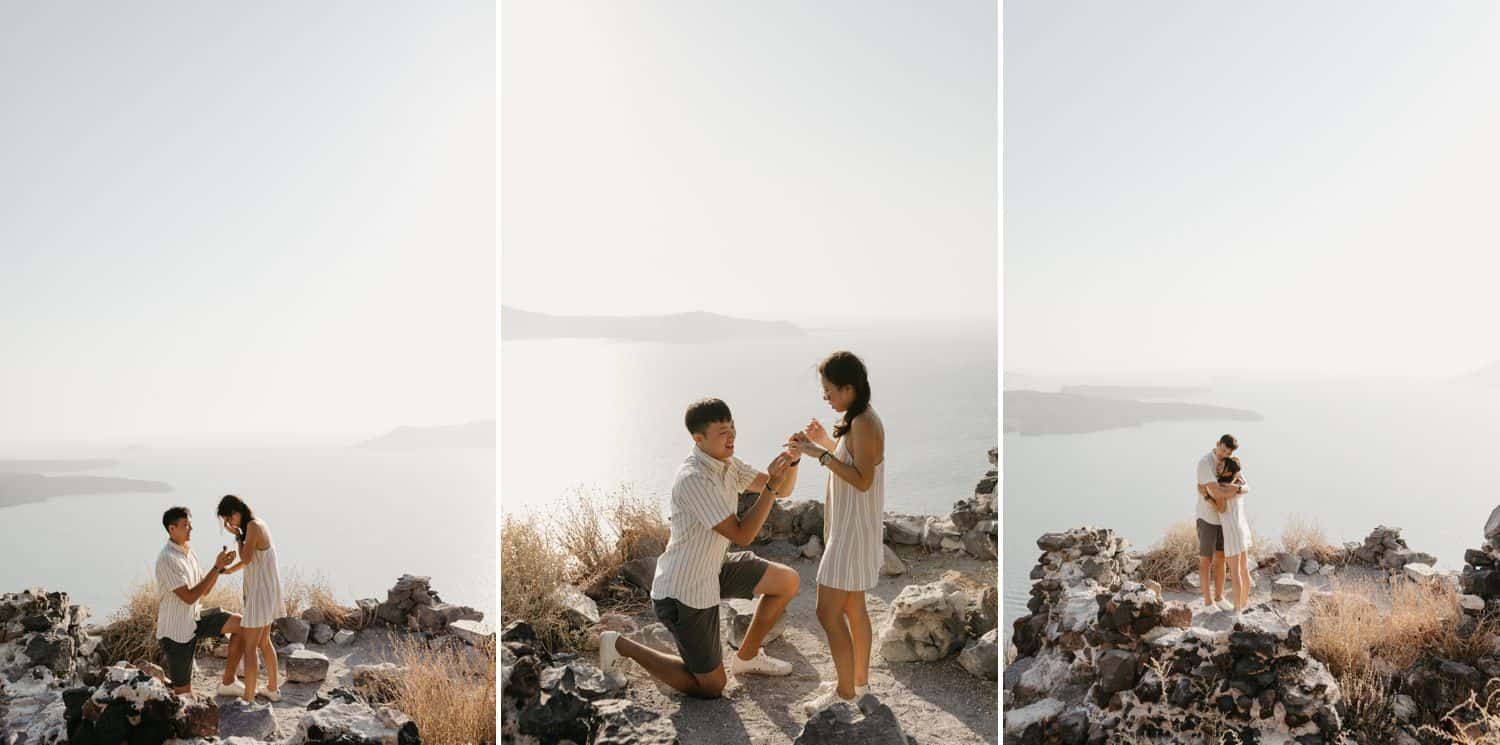 A couple gets engaged on a cliff overlooking the sea in Greece