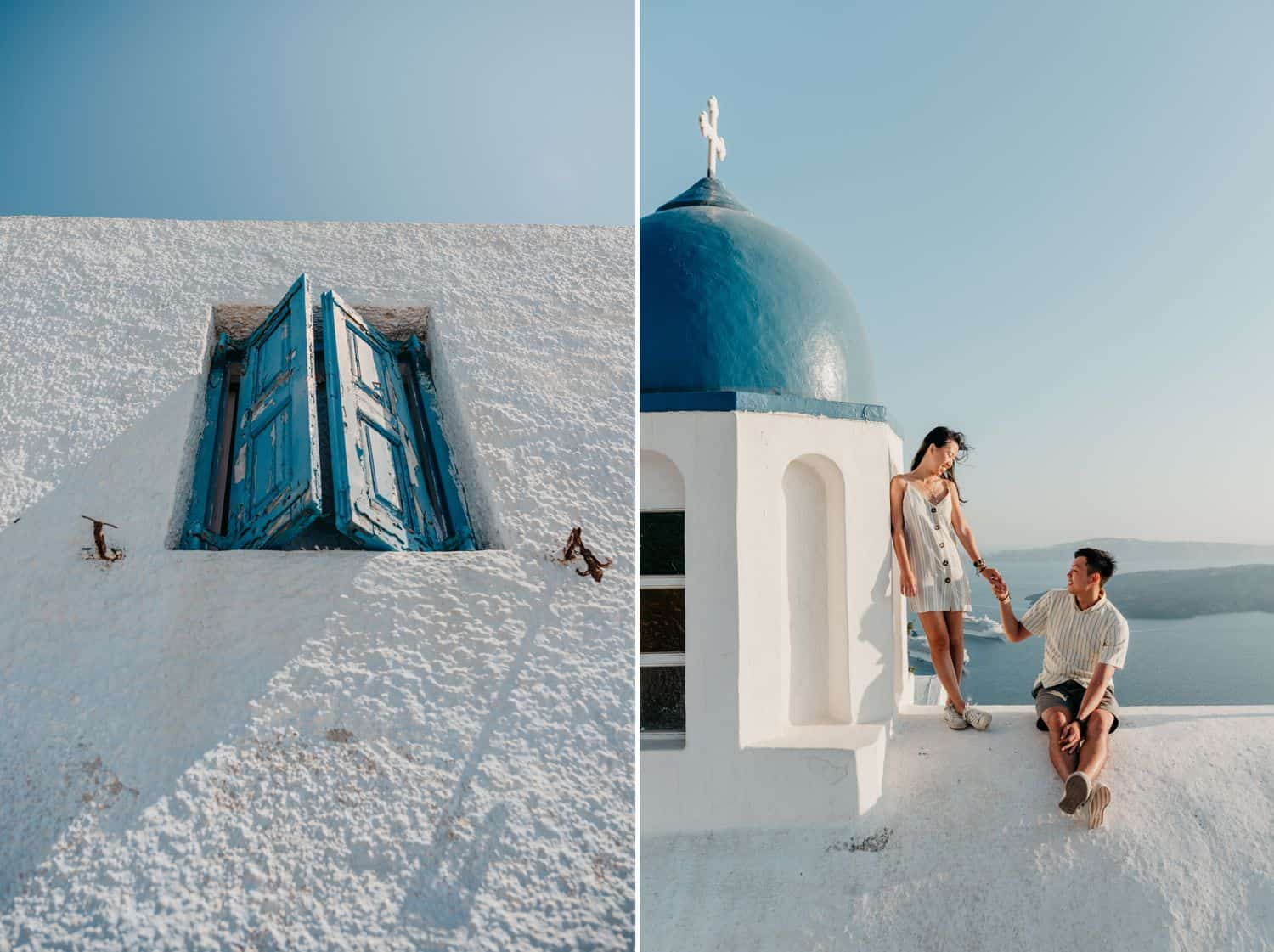 A couple holds hands on a rooftop overlooking the sea in Greece
