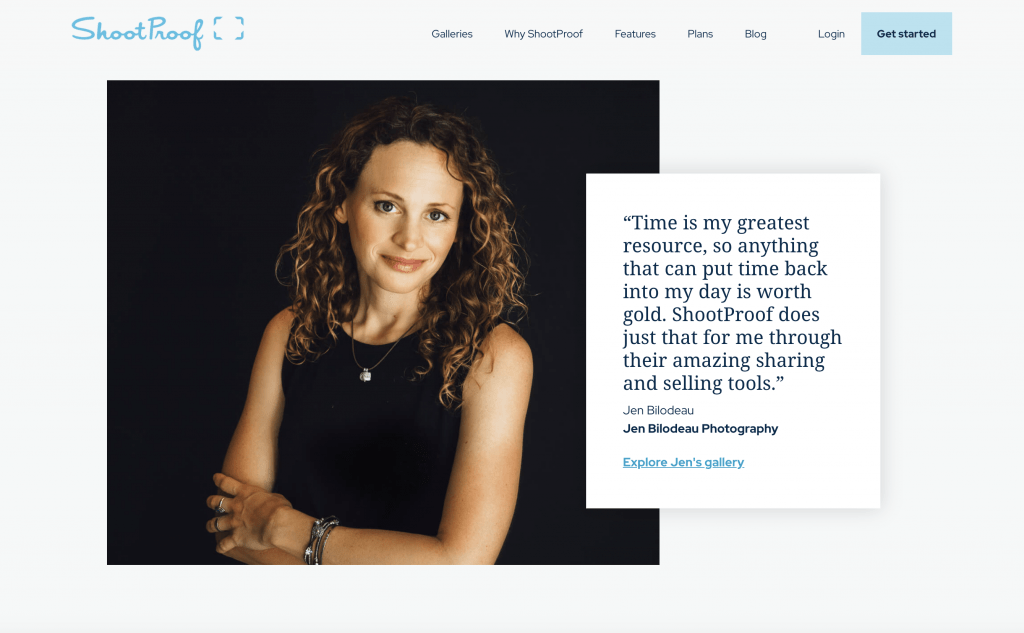 Jen Bilodeau quote on ShootProof and client experience