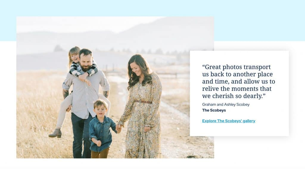The Scobey family walking in the field and a quote about photography