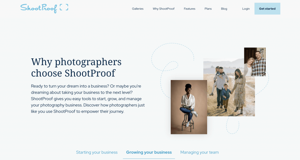 Why ShootProof hero image of photographers and supporting text