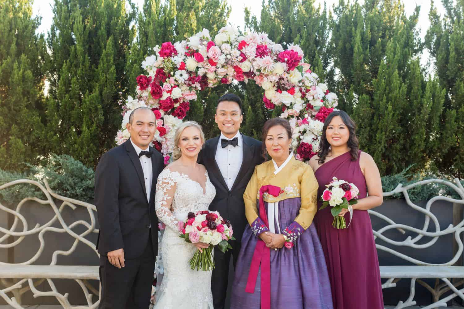 Korean American wedding celebration family portrait