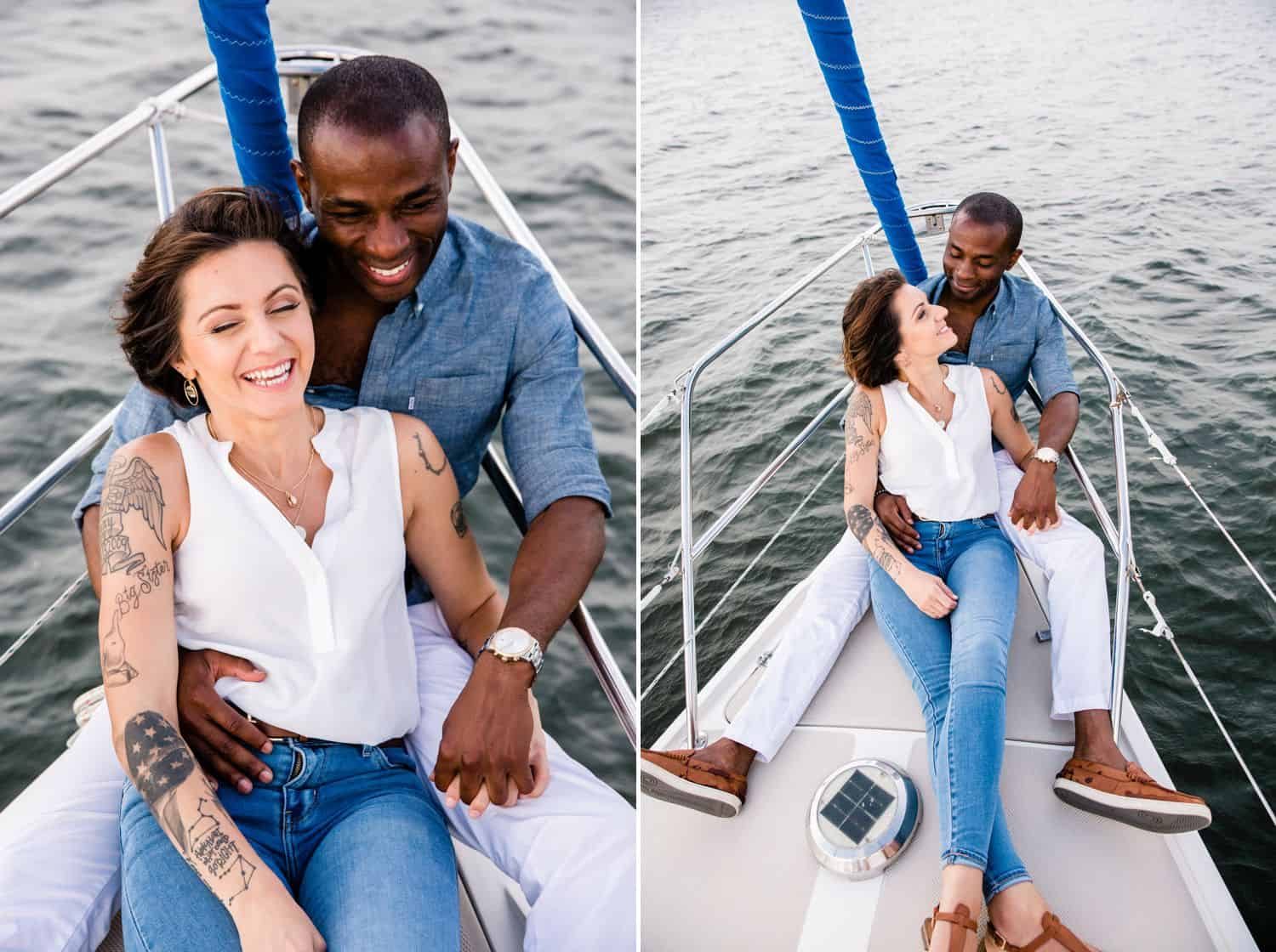 Portraits of a Black man and a White woman on a sailboat