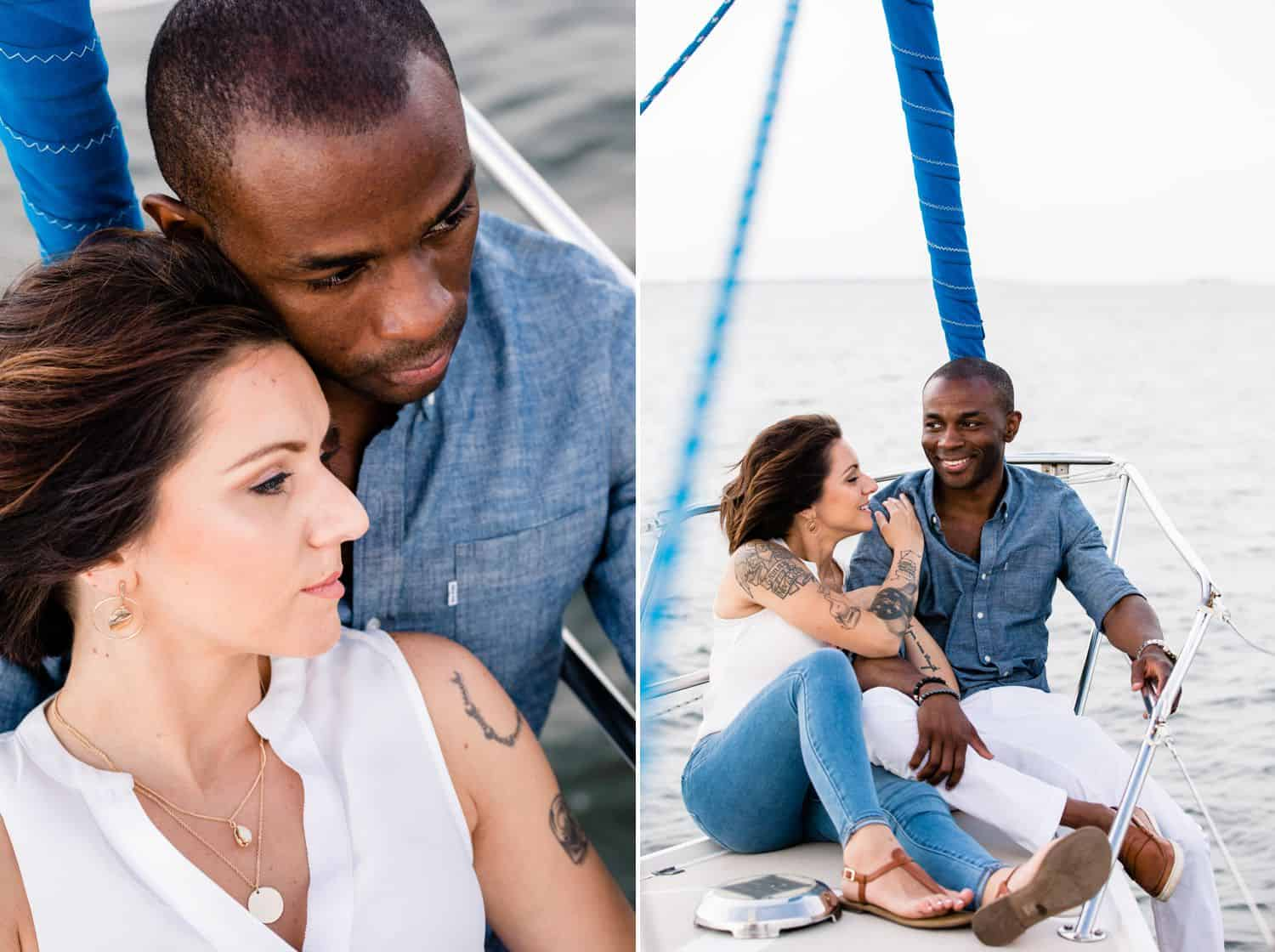 A White woman and a Black man sail on a romantic cruise