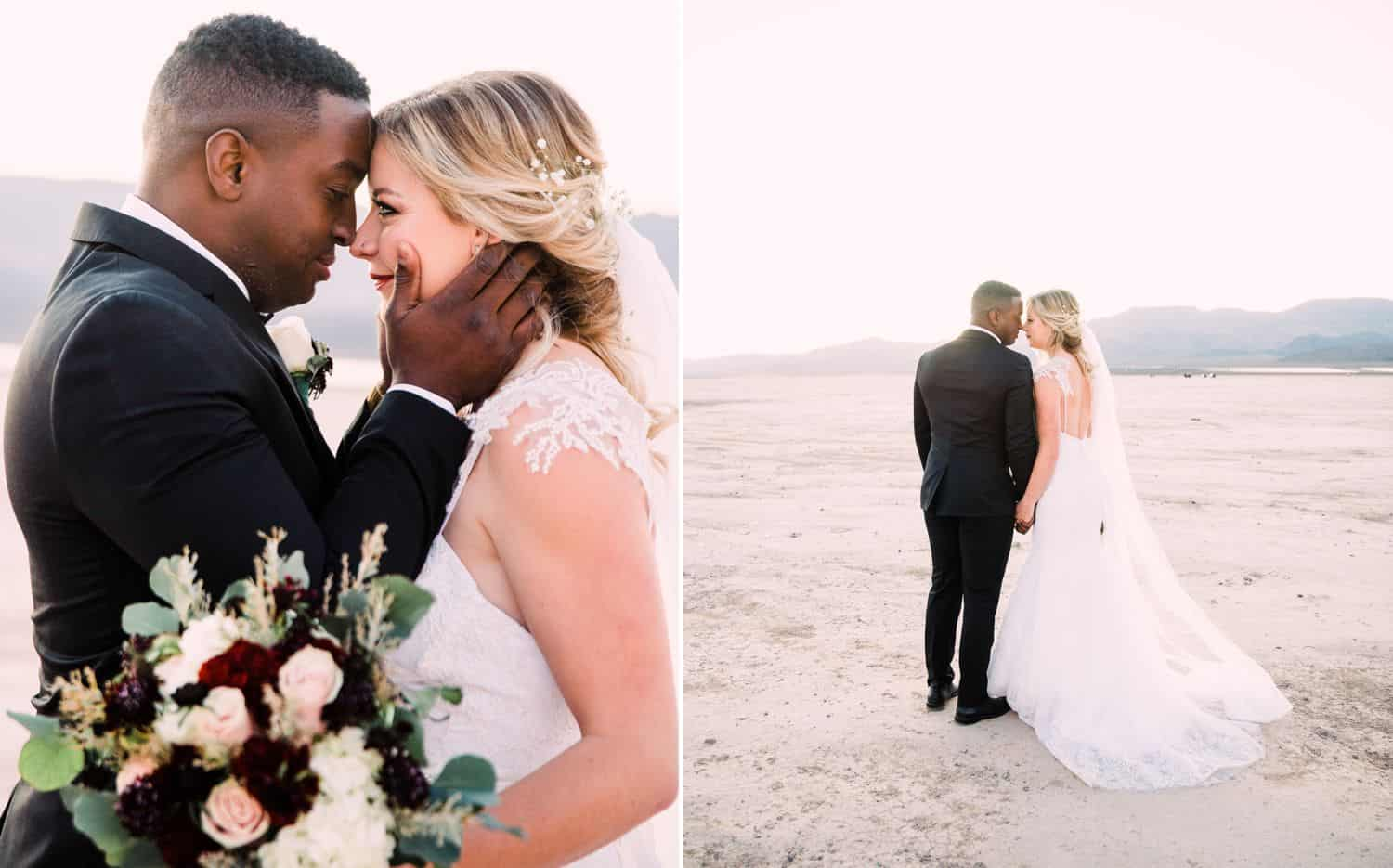 A bride and groom pose nose-to-nose during their desert elopement
