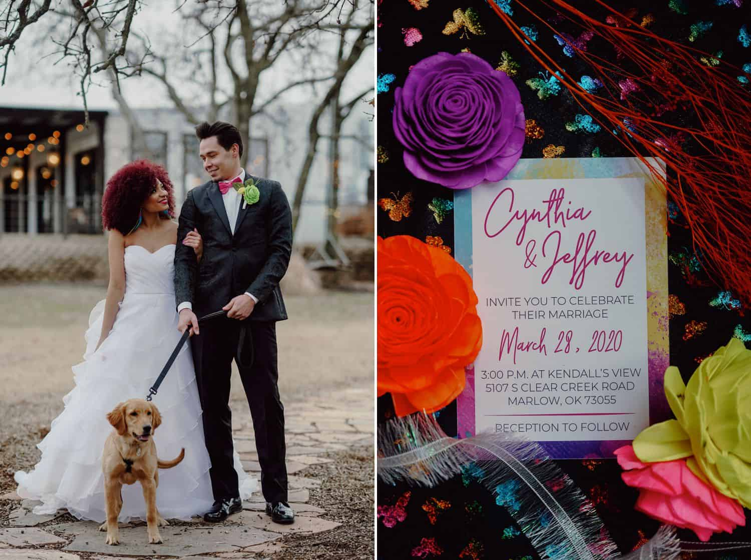 A bride and groom pose with their tiny dog in front of their wedding venue