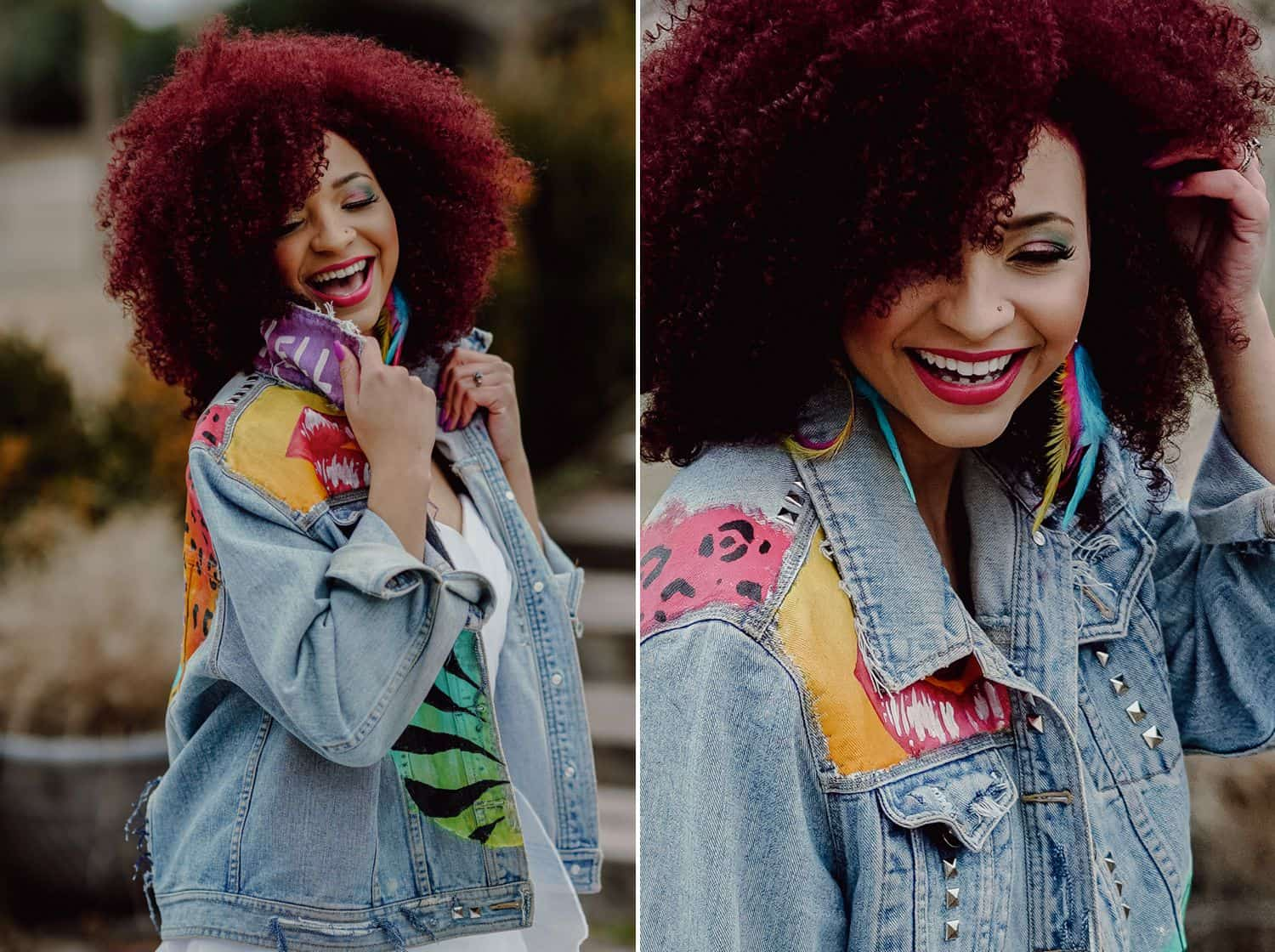A bride with a deep pink afro poses in a Lisa Frank inspired denim jacket