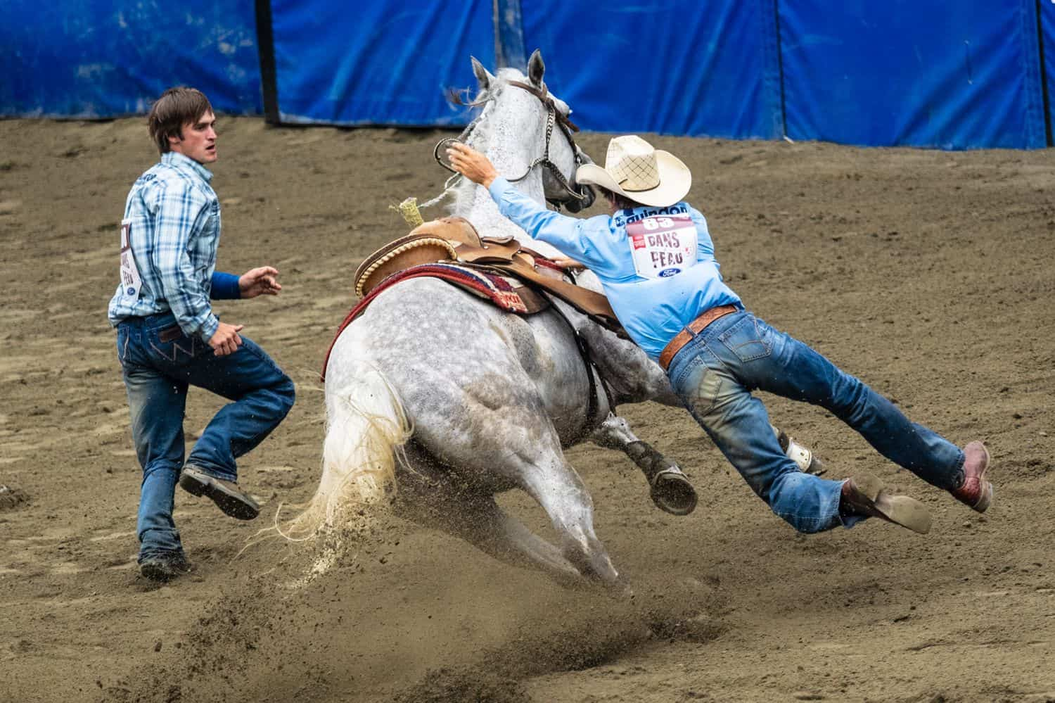 Two men in a rodeo event