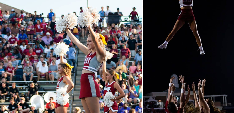 Photos of a cheerleading performance