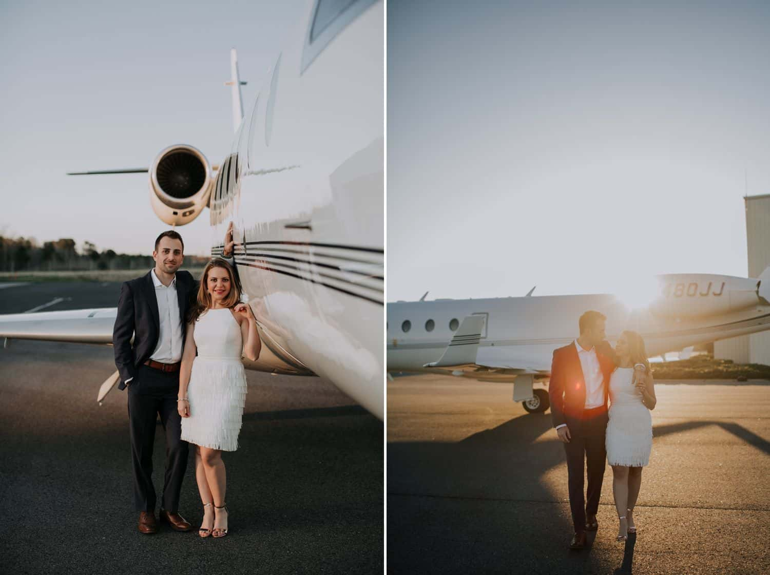 Photos of a couple posing near an airplane