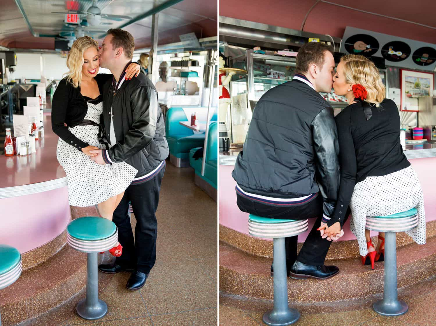 Photos of a couple kissing in a diner
