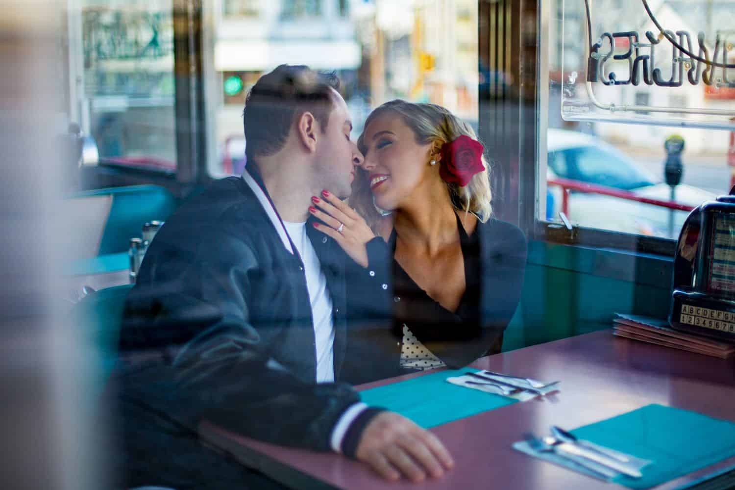 A photo of a couple taken at a restaurant