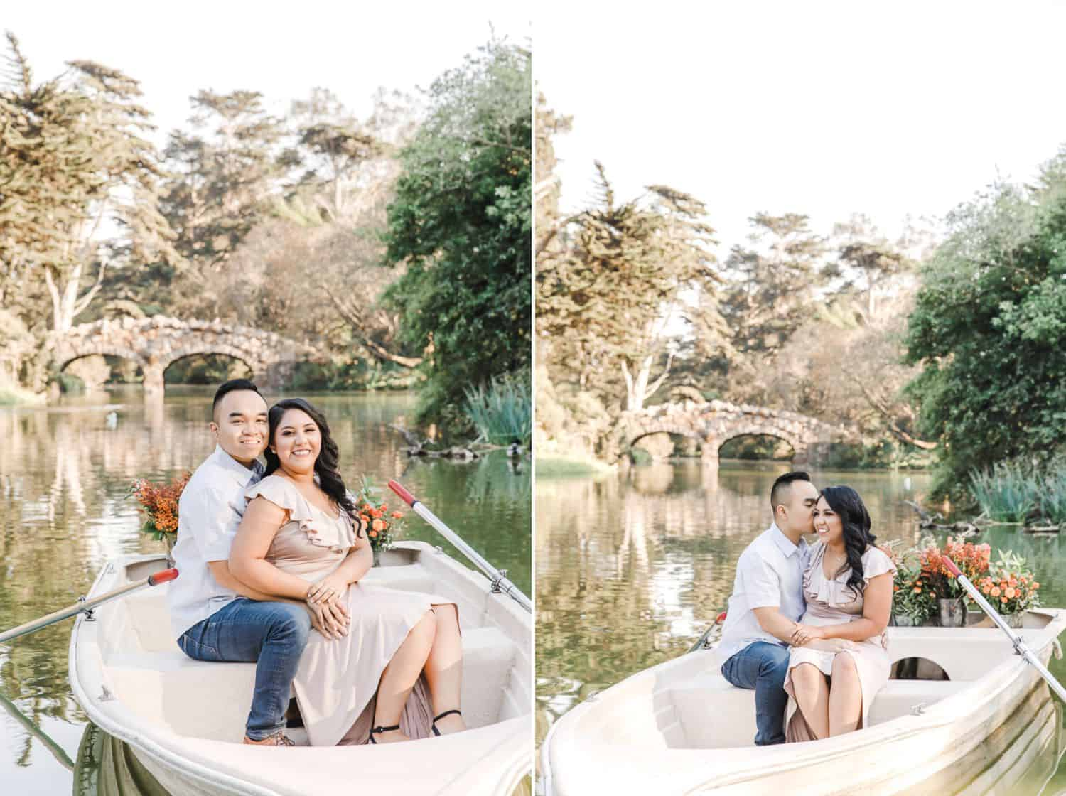 Photos of a couple together on a boat