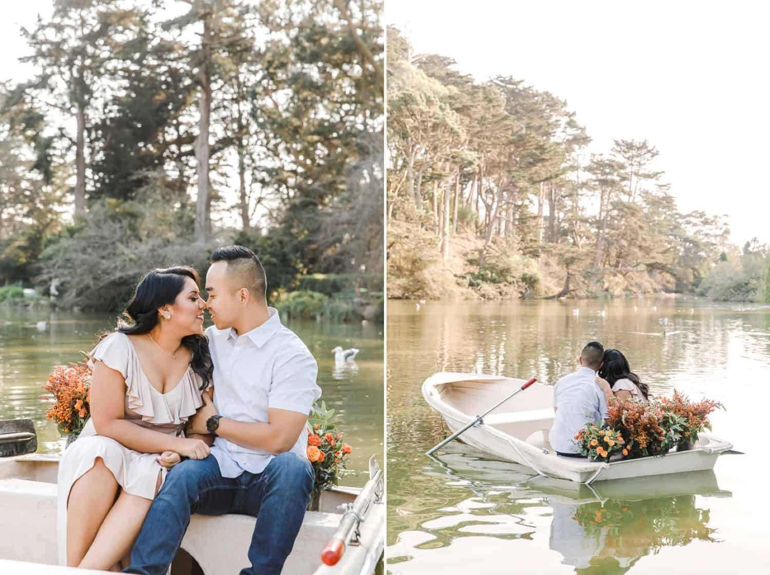 Photos of a couple posing on a boat