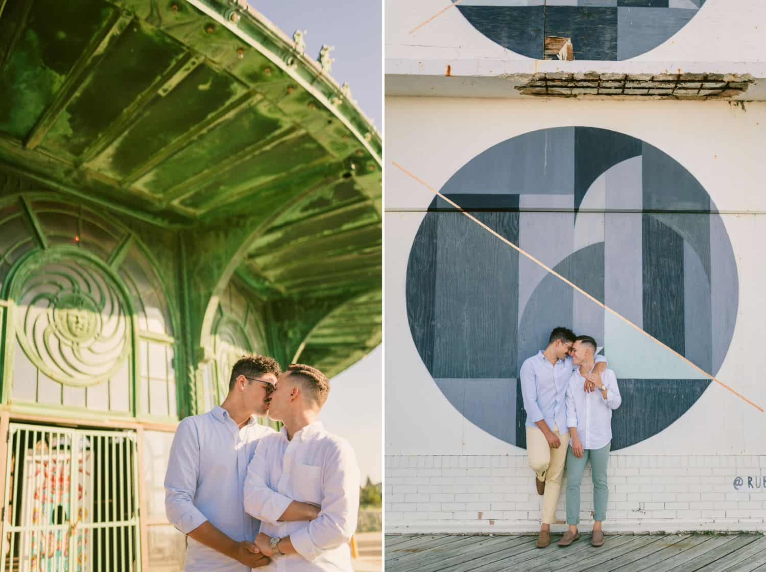 Photos of a couple posing kissing each other and holding hands