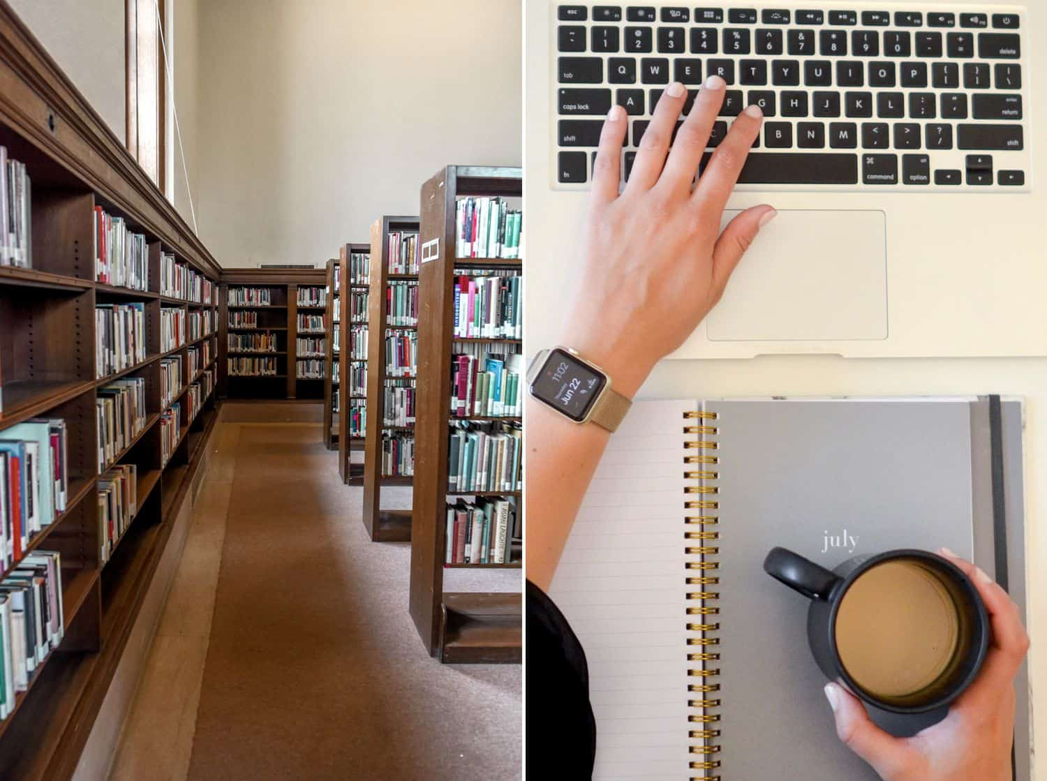 Photos of a library and a person typing on a keyboard and holding a coffee mug