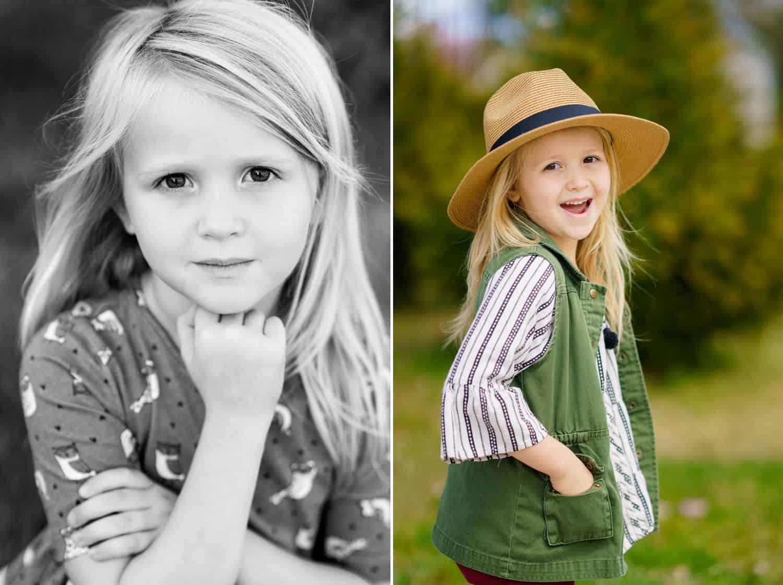 Photos of a young girl posing outdoors