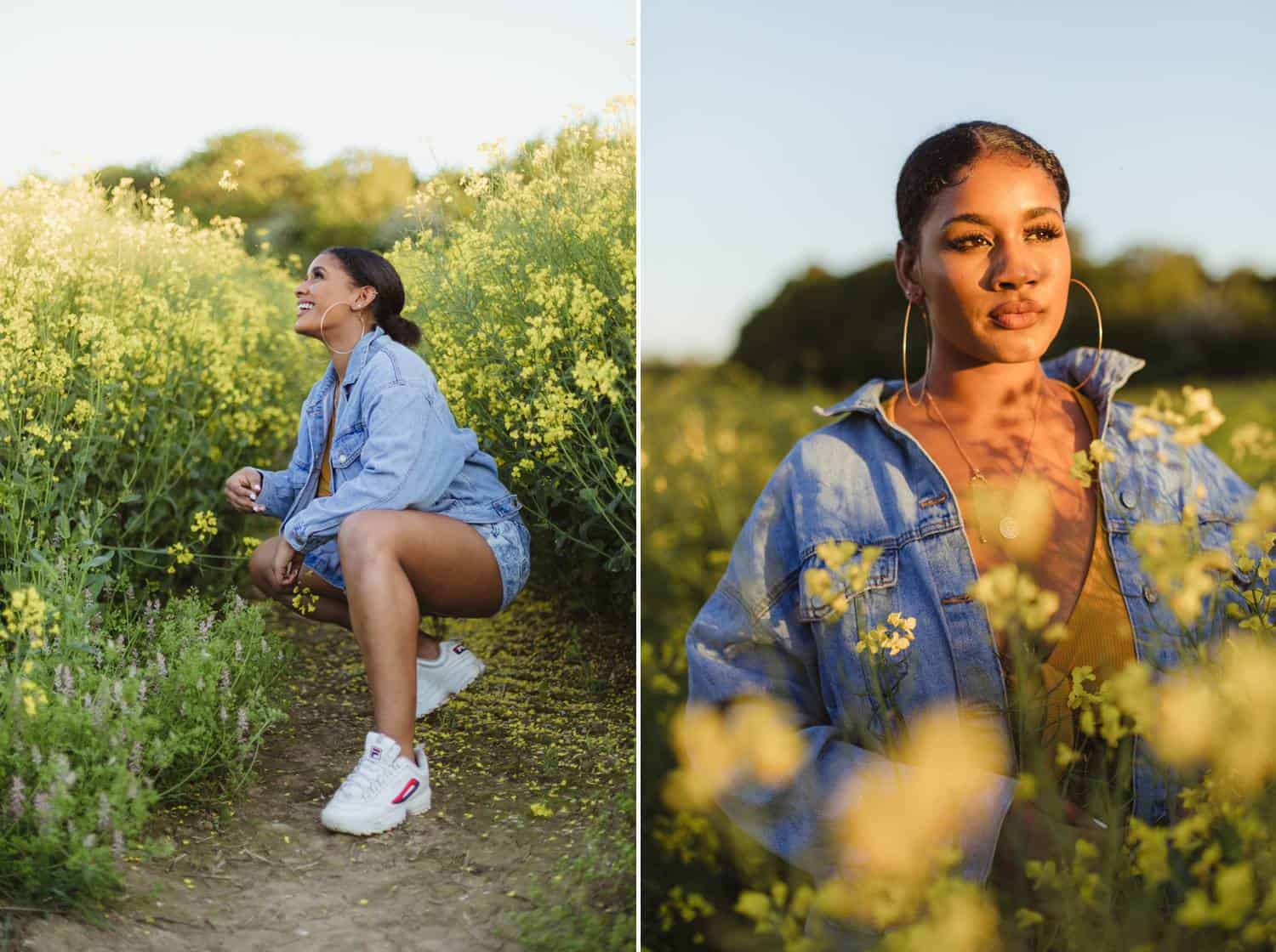 A young Latinx person wearing a denim shirt is photographed by Humphrey Muleba in a field full of wildflowers