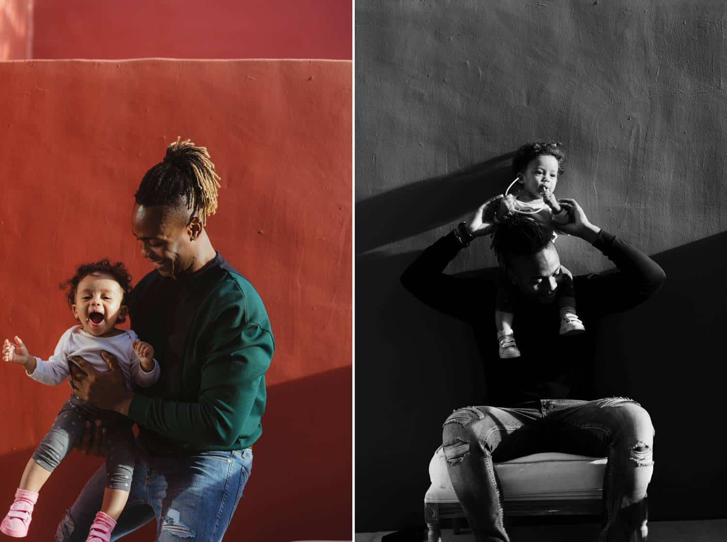 A person and their child play and cuddle in front of a brick red wall during a digital photography workflow session with Humphrey Muleba