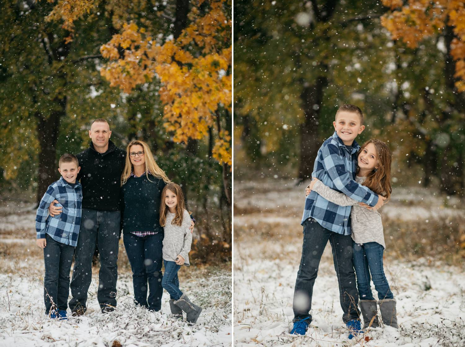 In two side-by-side photos by Nicole Nero Studio, snow falls through golden trees. In one photo, a family stands close together, smiling at the camera through falling snow. In the next photo, two kids hug while smiling at the camera as snow falls around them. Christmas Mini Session: Ideas Families will ADORE!