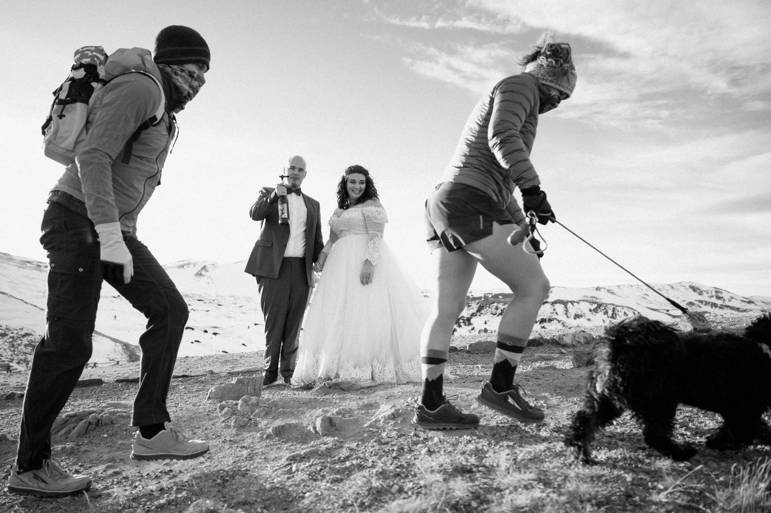 Customer Loyalty: By Nick Sparks, a bride and groom stand back as hikers climb past them with their dog leading the way.