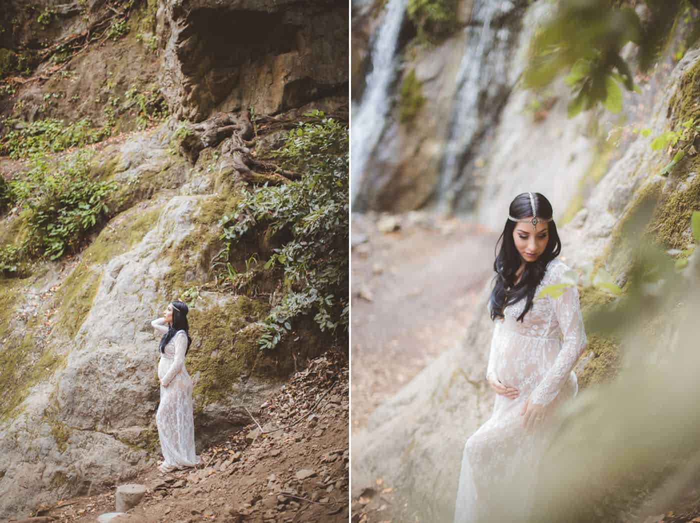 Vanessa Hicks' photo poses for maternity sessions typically include the scenic waterfalls of Hawaii