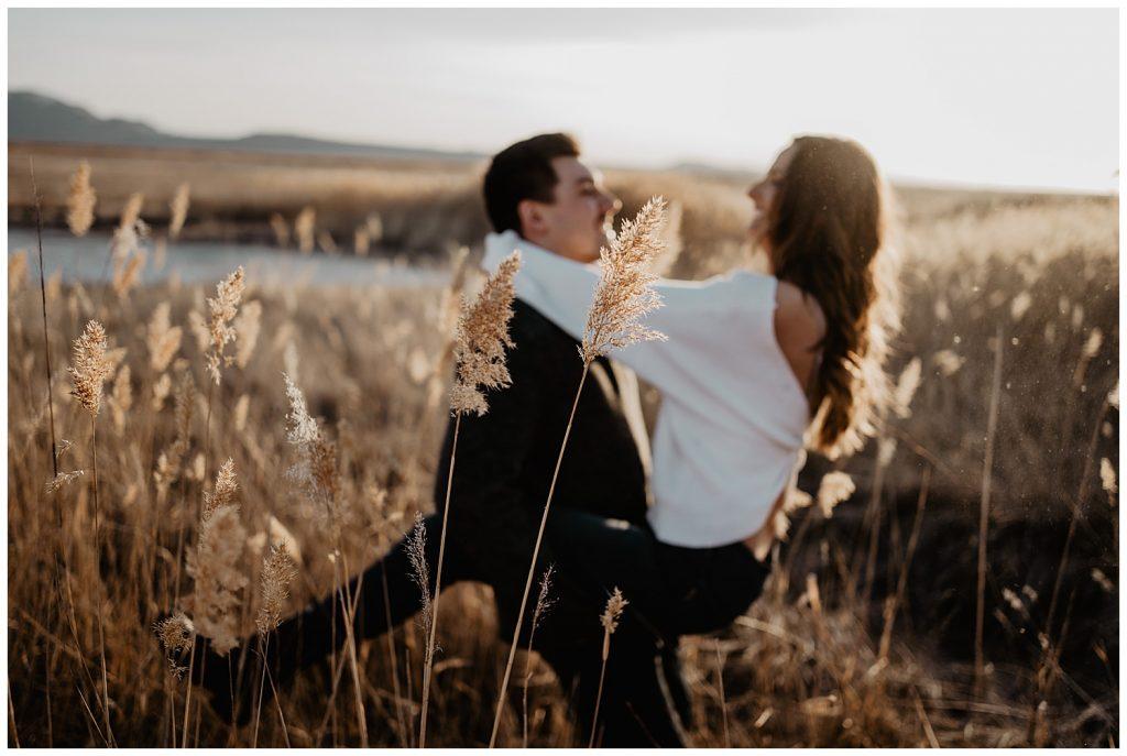 couple in golden field