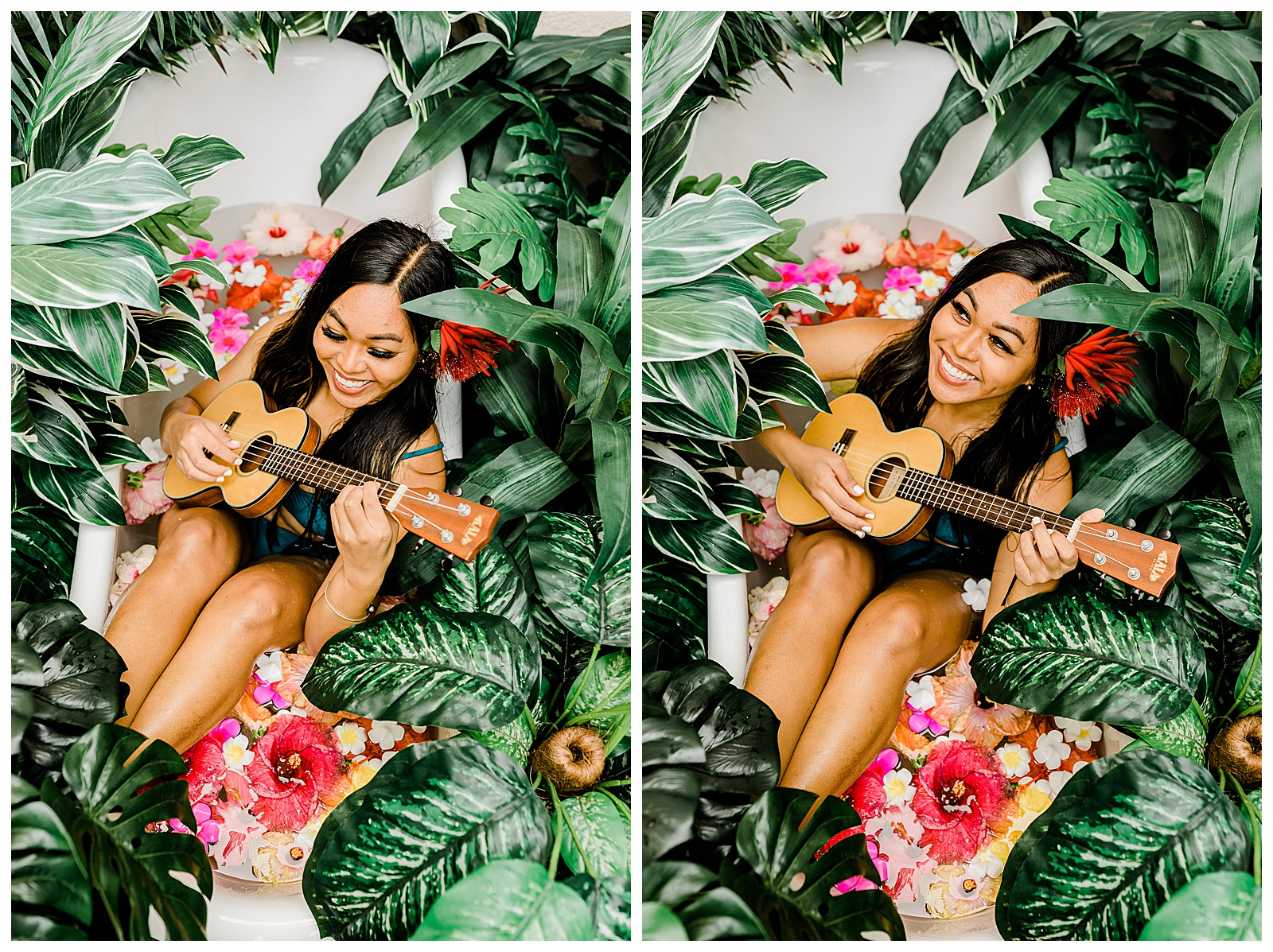 A Hawaiian woman sits in a tub with a ukulele