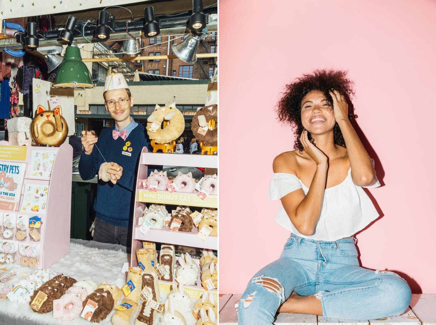 Amber Fouts' photos depict a smiling, mustachioed man selling doughnuts from a kiosk; then a smiling Black woman wearing a white shirt and jeans sitting against a pink studio backdrop.