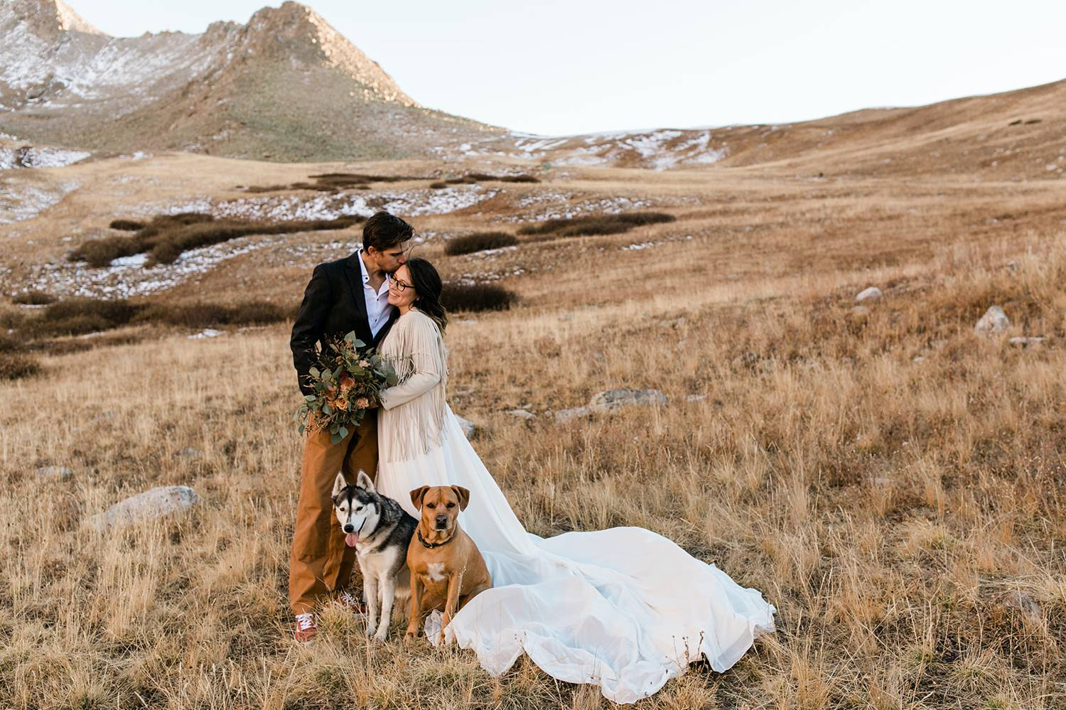 A bride and groom snuggle close in a wide overgrown field overlooking sun-soaked mountains as their two dogs rest at their feet.