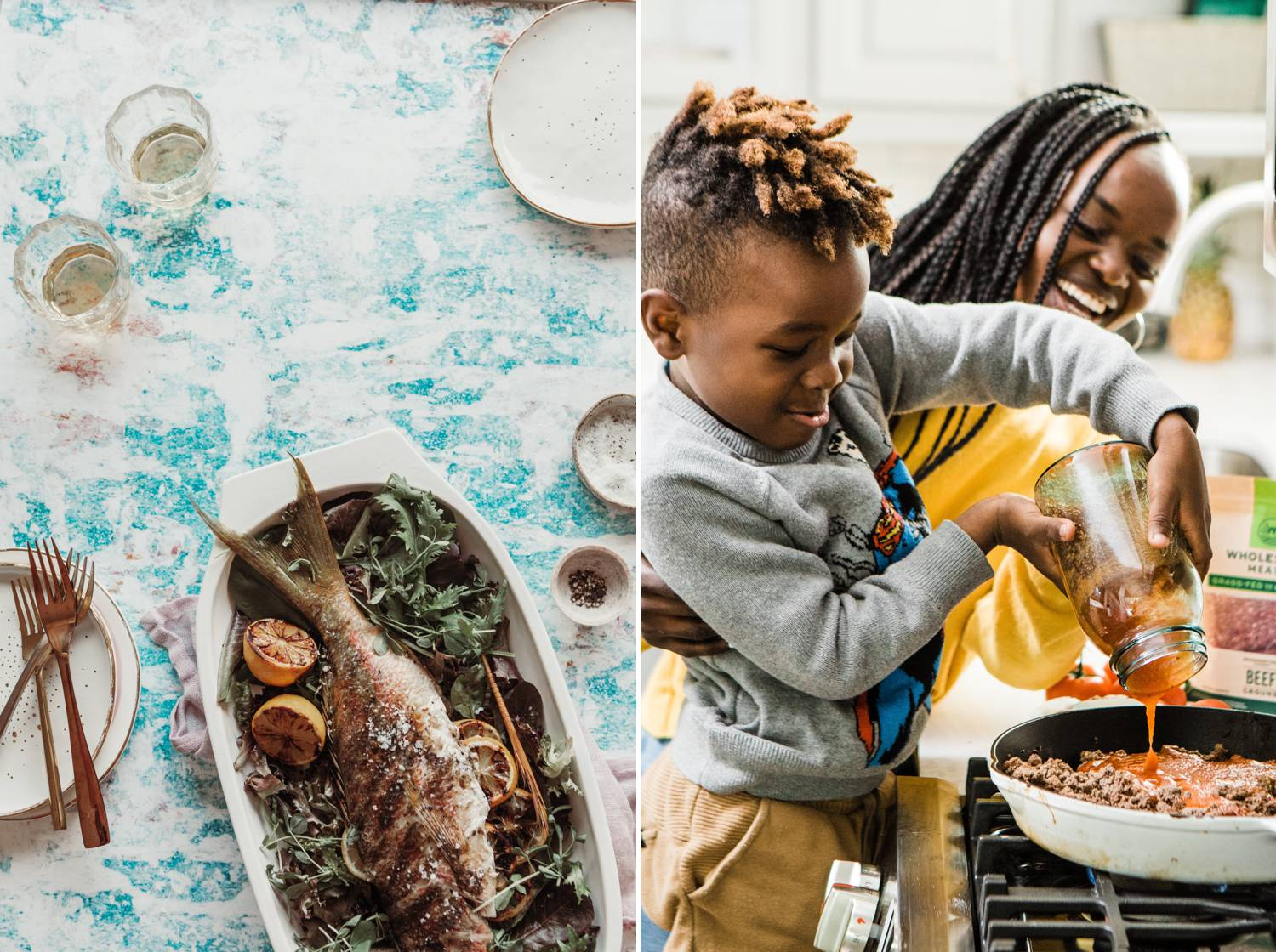 A baked fish is presented in a porcelain dish. A mom and her son pour sauce into a pan full of spaghetti meat.