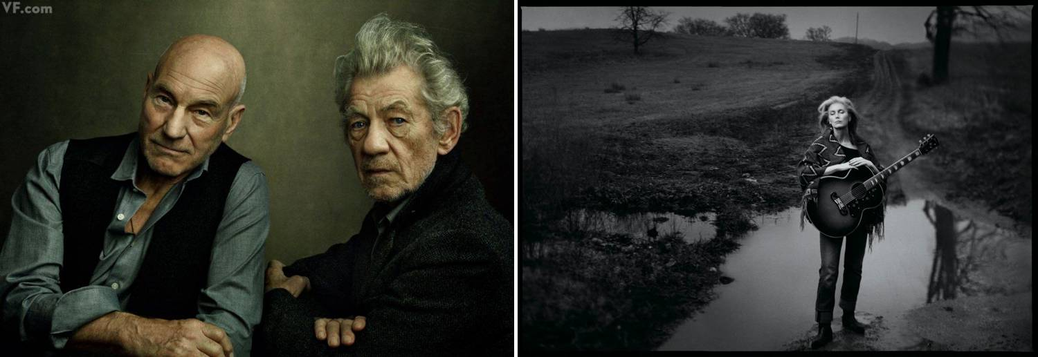 A series of two celebrity portraits photographed by Annie Leibovitz