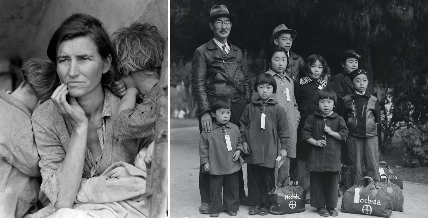 A series of two famous photographs by Dorothea Lange