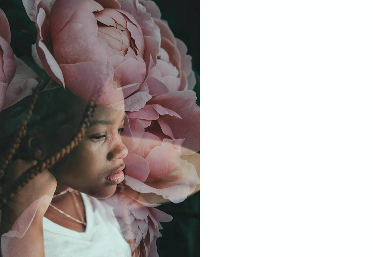 Photo: J'aime Davis's double exposure of a young Black girl with braids overlaid by a close-up photograph of a blooming pink rose