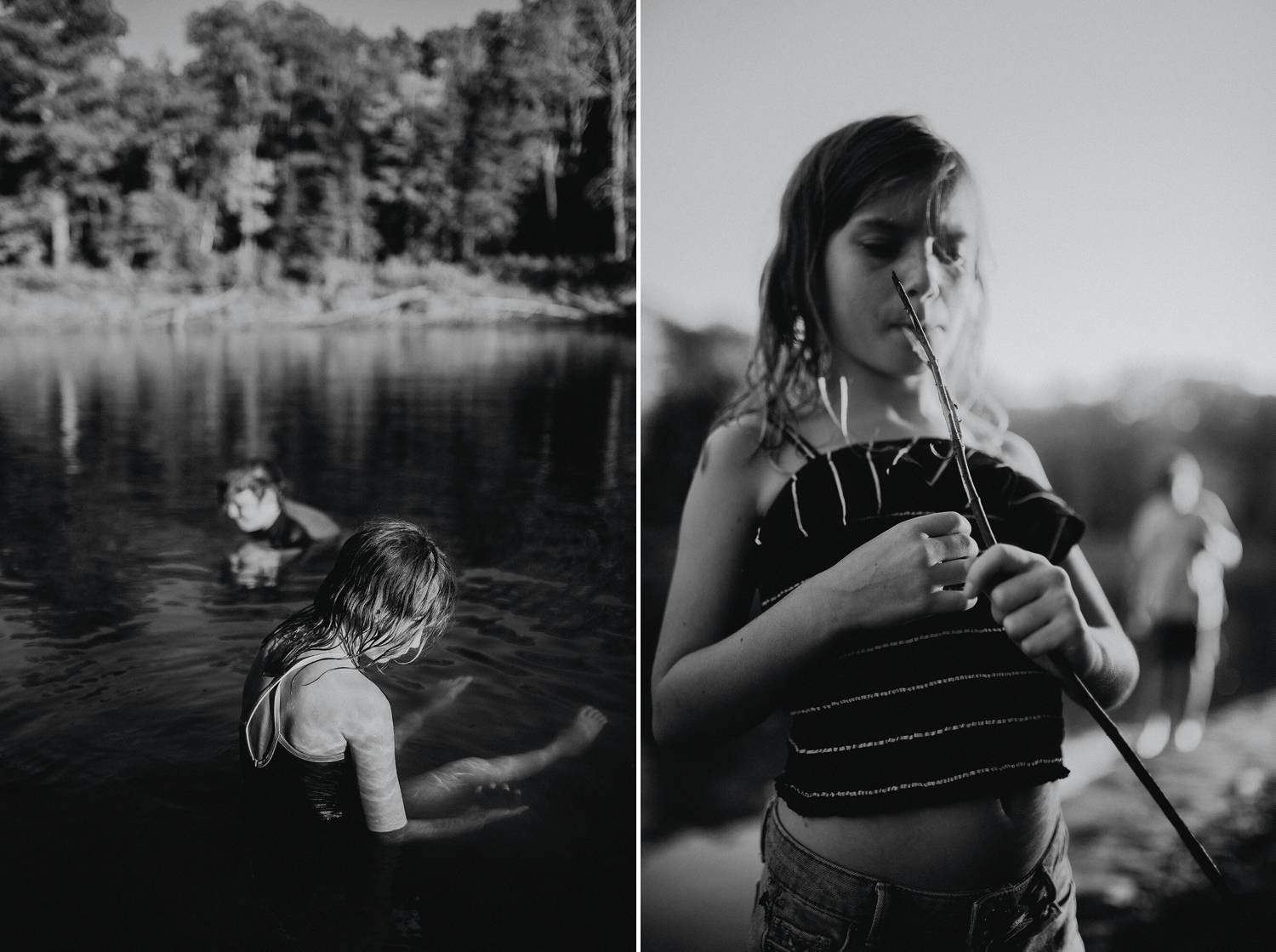 Photos: Joni Burtt's natural black and white images showcase children playing intently in a quiet lake.