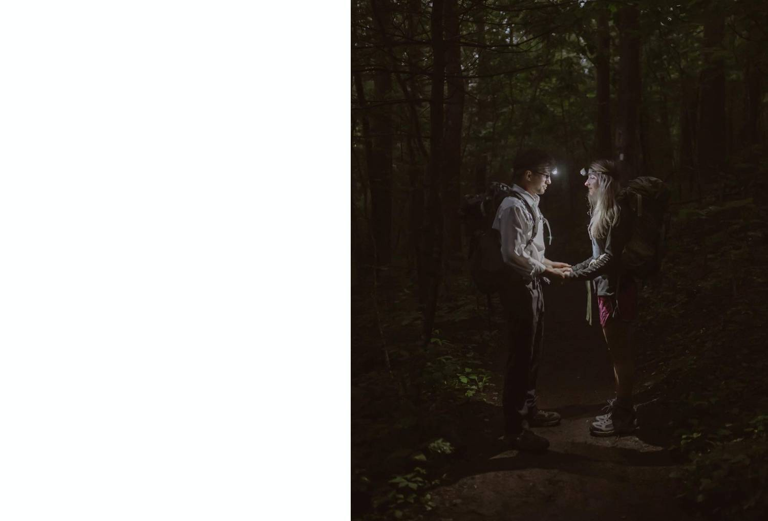 Photo: Kayla Wentzek's nighttime portrait of a couple shows them standing face-to-face in a dark forest with only their headlamps to illuminate the scene.