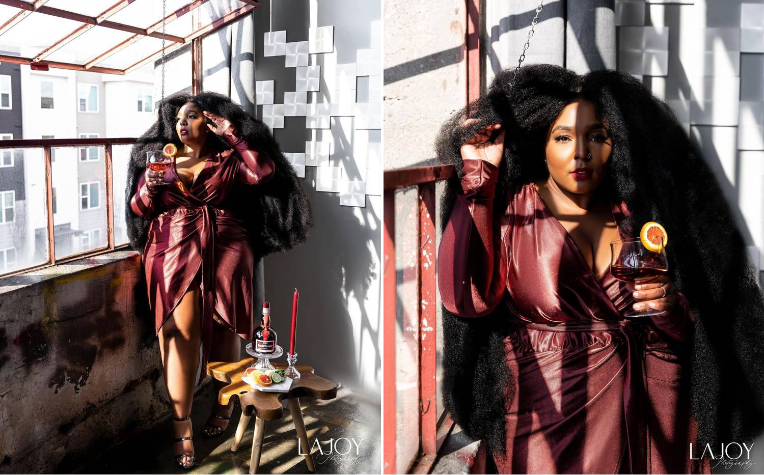 Photos: LaJoy Cox's portraits of a Lizzo look-alike show the gorgeous woman leaning against a concrete wall as harsh sun illuminates her striking face, burgundy leather dress, and the cocktail she's holding.