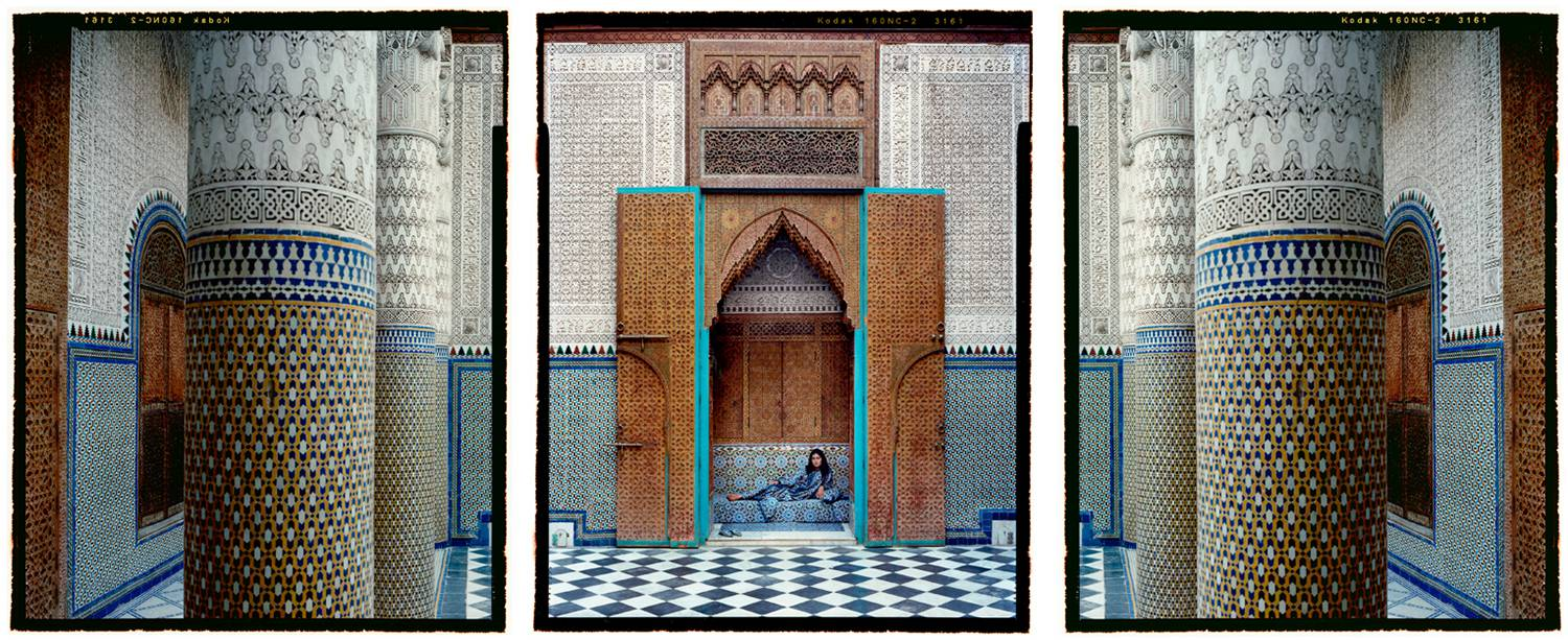 "Photos: Lalla Essaydi's series ""Harem"" is shot in triptychs, like this 3-part photograph showing an Indian woman reclining in an opulent doorway."