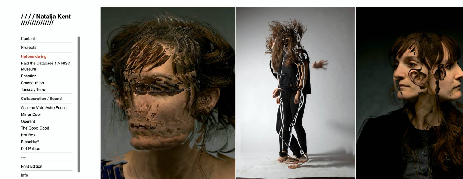 Website: Natalja Kent's website features her portrait series of photo manipulations called Heliorendering.