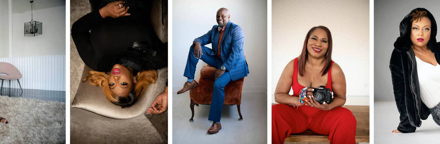 Photos: LaJune King's personal branding sessions include photographs of men in suits, women holding cameras, fashionista's reclining on a velvet sofa, and more.